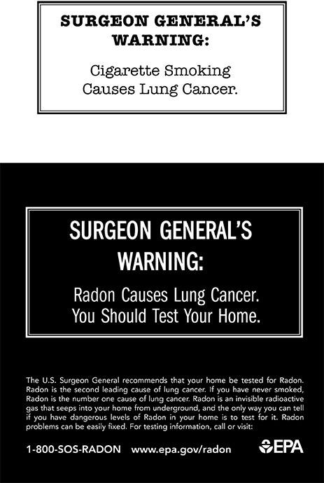 Surgeon General's Warning on radon