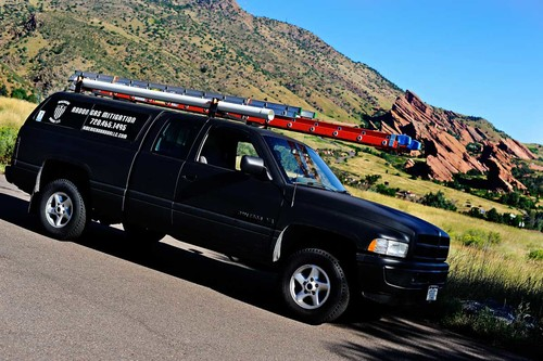 Radon testing and mitigation service truck in Fort Collins, Colorado