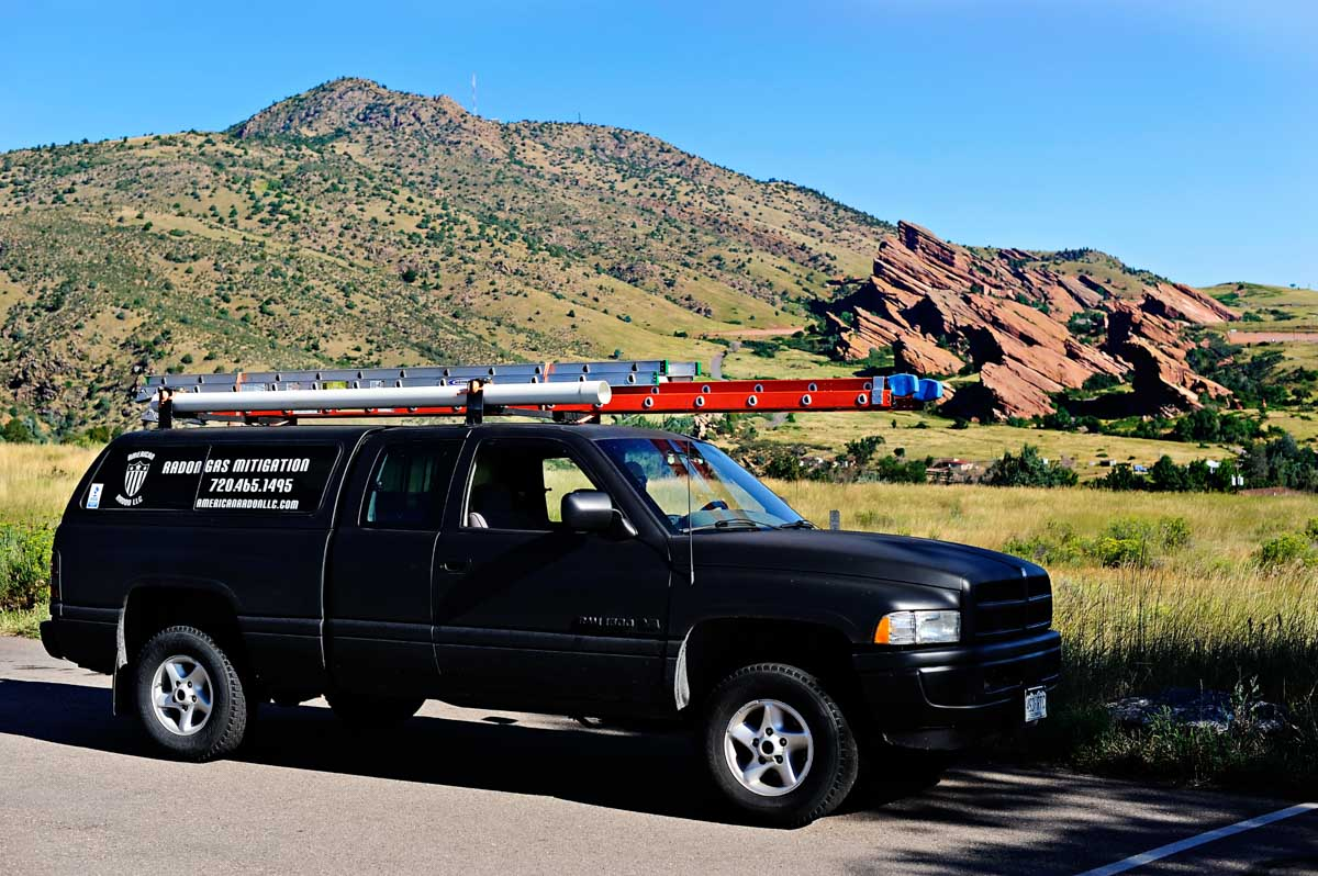 Service truck for Radon Mitigation and testing in Littleton, Colorado
